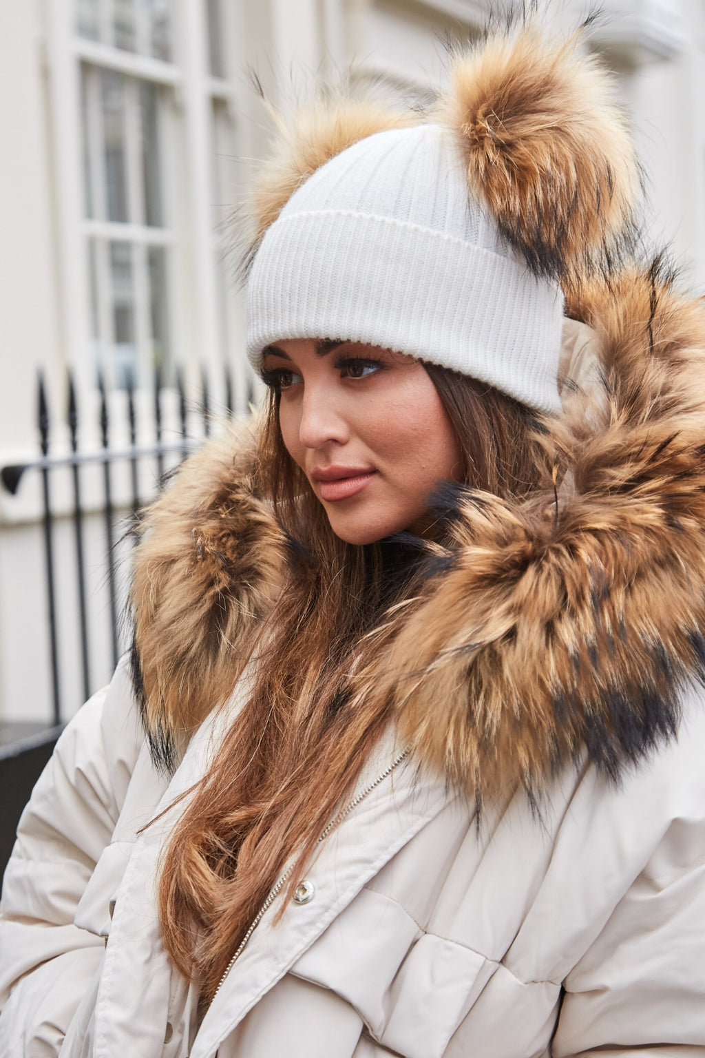 White & Natural DOUBLE Bobble Hat