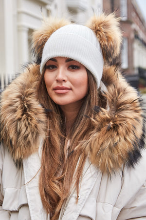 White & Natural DOUBLE Bobble Hat - noughts&kisses