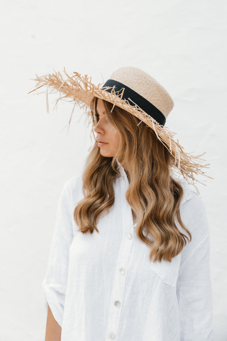 Frayed Straw Floppy Hat - noughts&kisses