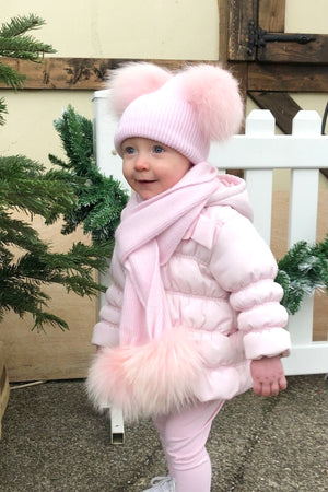 KIDS Baby Pink DOUBLE Bobble Hat Set - noughts&kisses
