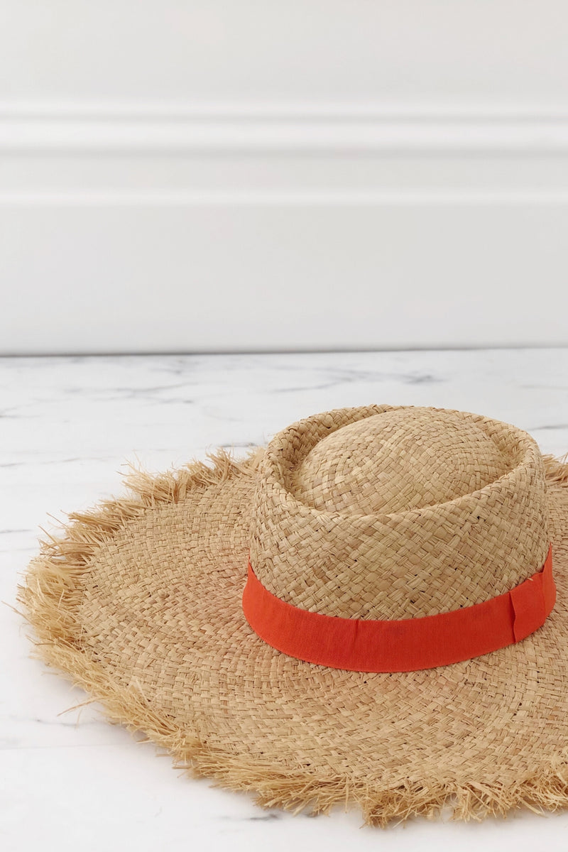 Frayed Wide Brim Boater Hat/Orange Ribbon - noughts&kisses