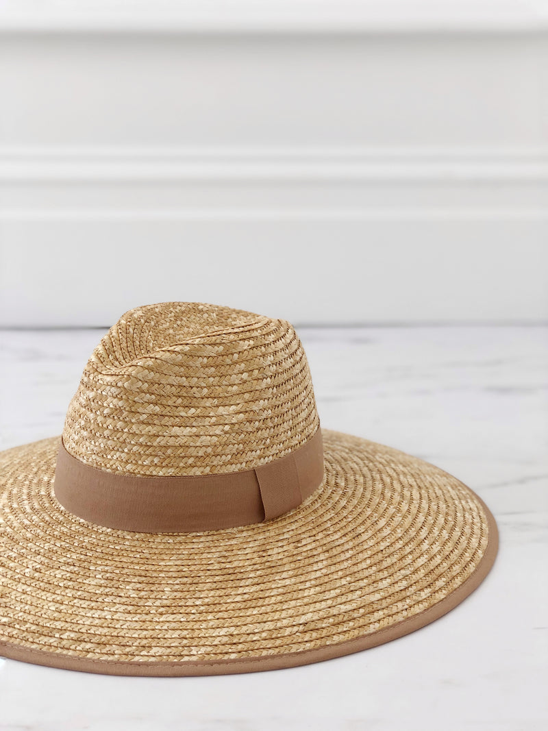 Wide Brim Stetson Hat - Nude Ribbon - noughts&kisses