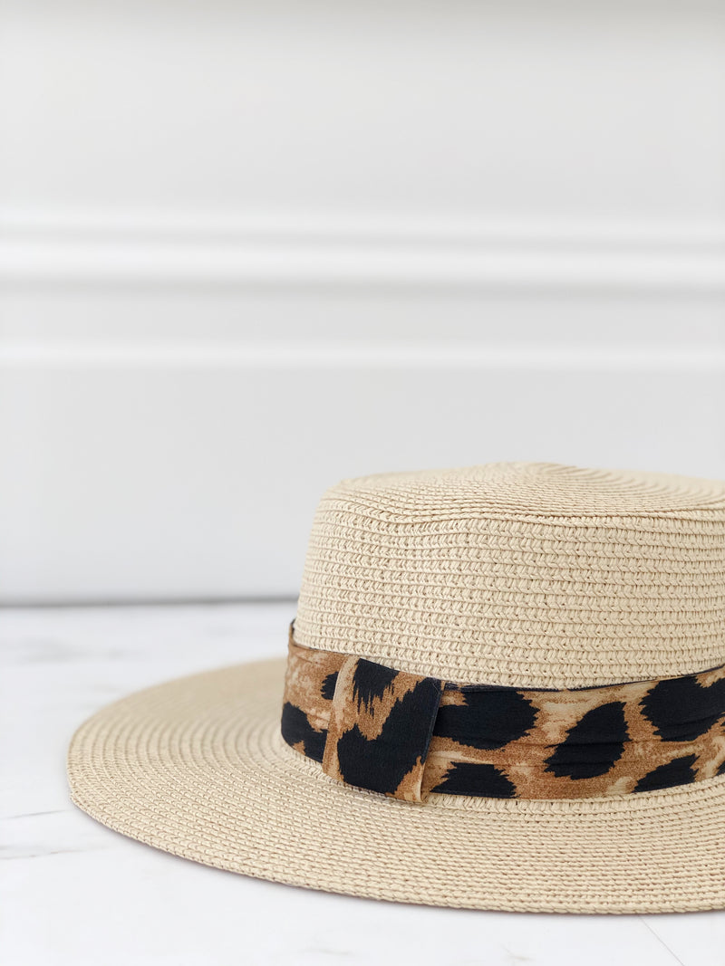 Beige Boater Hat With Leopard Ribbon - noughts&kisses