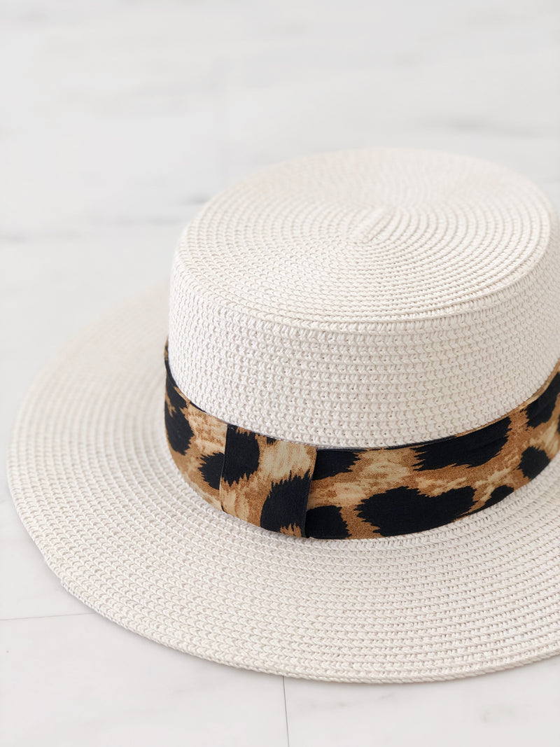 White Boater Hat/Leopard Ribbon - noughts&kisses