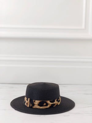 Black Boater Hat With Leopard Ribbon - noughts&kisses
