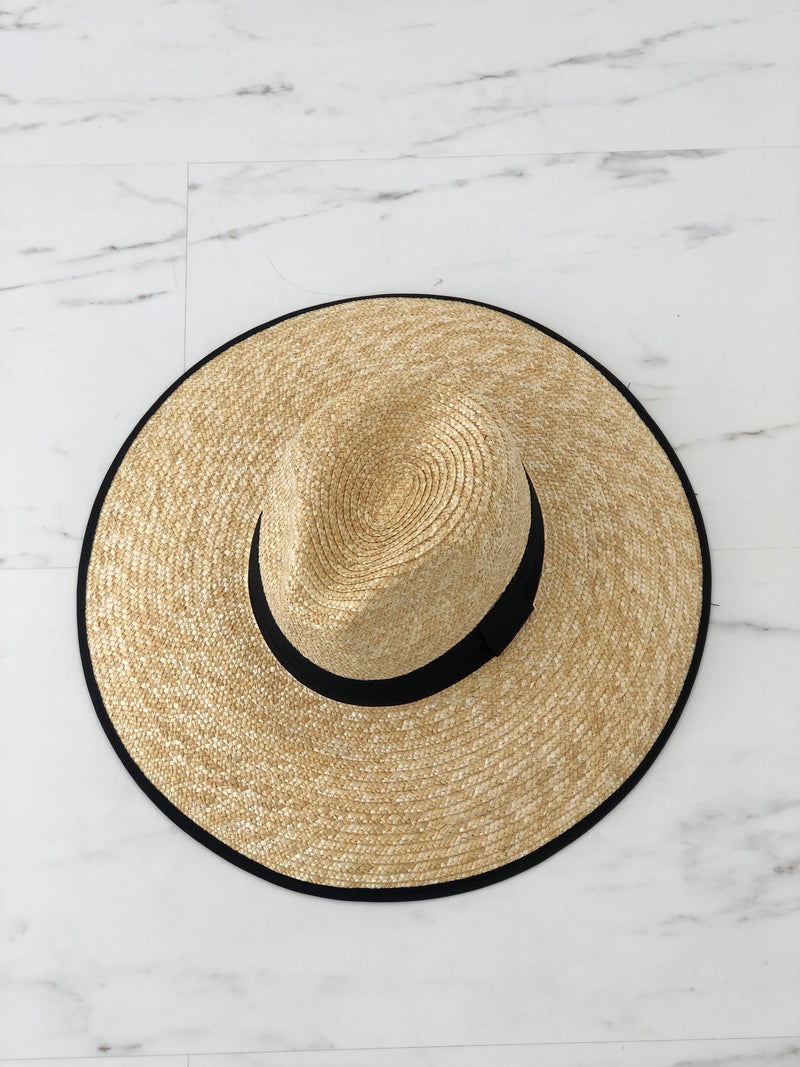 Wide Brim Stetson Hat - Black Ribbon - noughts&kisses