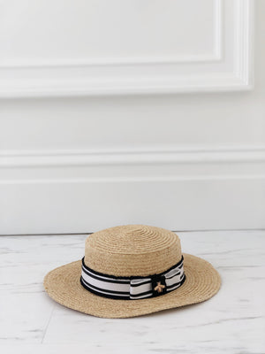 Beige Boater Hat With Bee Charm Ribbon - noughts&kisses