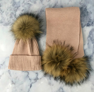 KIDS Pink Bobble Hat & Scarf Set - noughts&kisses