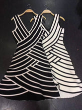 Load image into Gallery viewer, Lucia Black White Striped Dress