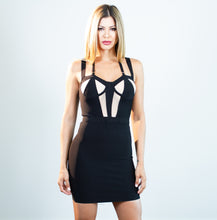 Load image into Gallery viewer, Penelope Black Sheer Mesh Bustier Dress