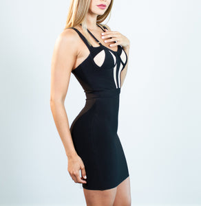 Penelope Black Sheer Mesh Bustier Dress