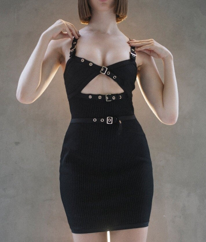 Rachel Black Ribbed Bandage Dress with Buckles