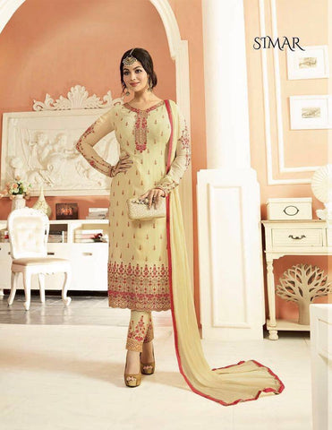 Cream Georgette Suit-www.riafashions.com