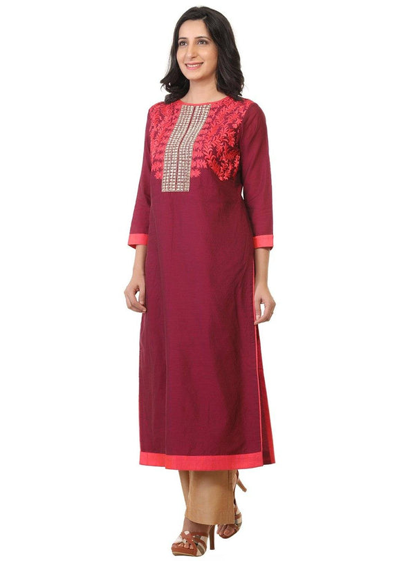 Embroidered Art Silk Kurta-www.riafashions.com
