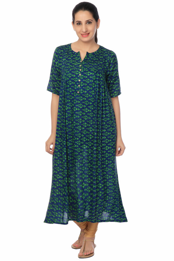 Green Cotton Long Dress-www.riafashions.com
