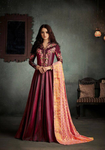 Maroon Embroidered Anarkali Suit-www.riafashions.com