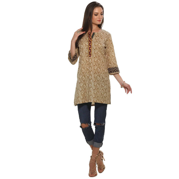 Mustard Color Abstract Printed Cotton Kurti Tunic-www.riafashions.com