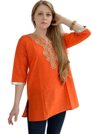 Cotton Silk Short Tunic with Zari Work-www.riafashions.com