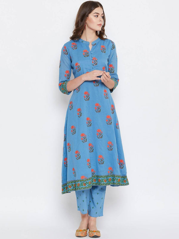 Royal Blue Printed Kurta With Trousers