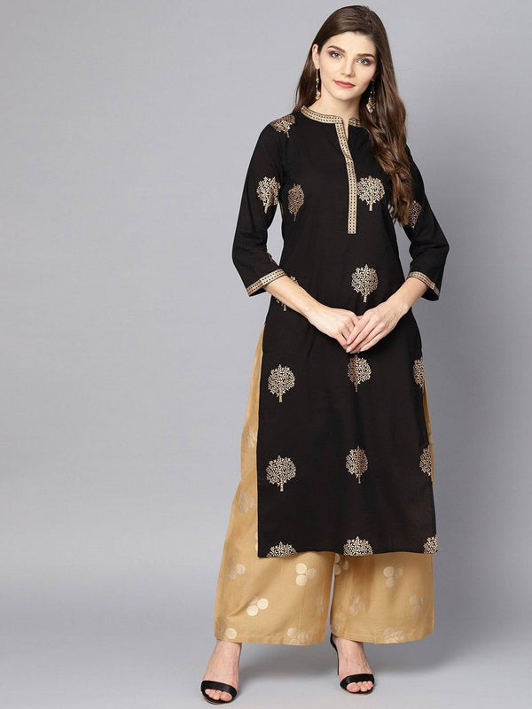 Black Gold Printed Kurta Set With Mustard Palazzo