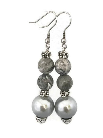 Grey Shell Pearl Drop Earrings-www.riafashions.com
