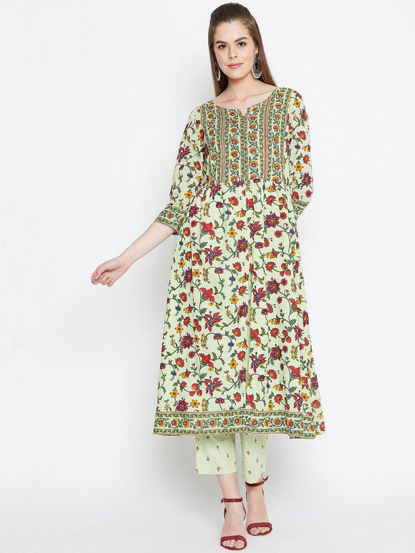 Green Printed Cotton Kurta With Trousers