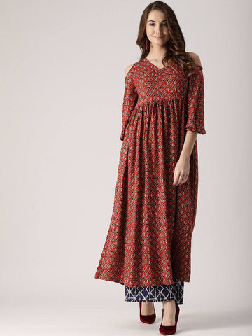 Red Cold Shoulder Cotton Blend Kurti-www.riafashions.com