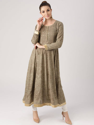 Cream Cotton Blend Kurti-www.riafashions.com