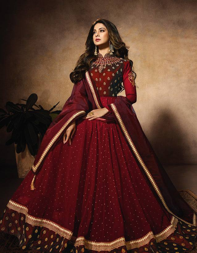 Red Make to Order Salwar Gown