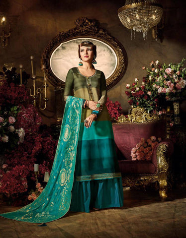 Green & Aqua Make to Order Salwar Suit