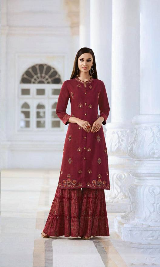 Maroon Colour Make To Order Kurti/Tunic with Plazzo