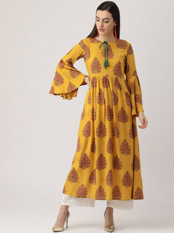 Yellow Cotton Blend Kurti-www.riafashions.com