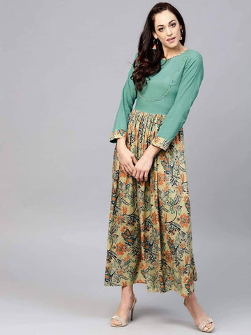 Scintillating Green Colored Cotton Kurti Top