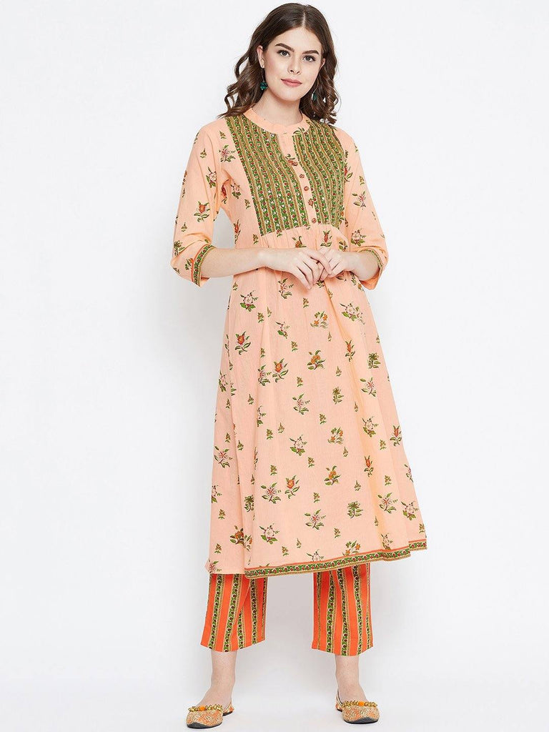 Pink Printed Kurta With Trousers