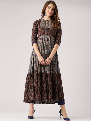 Brown Cotton Blend Kurti-www.riafashions.com