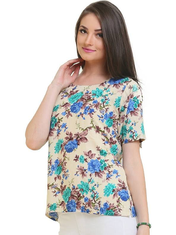 Cotton Floral Indian Kurti-www.riafashions.com