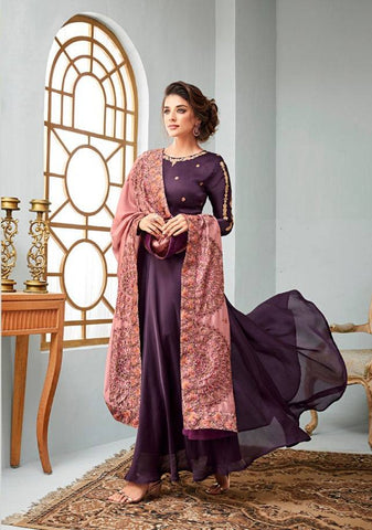 Purple Make to Order Salwar Suit