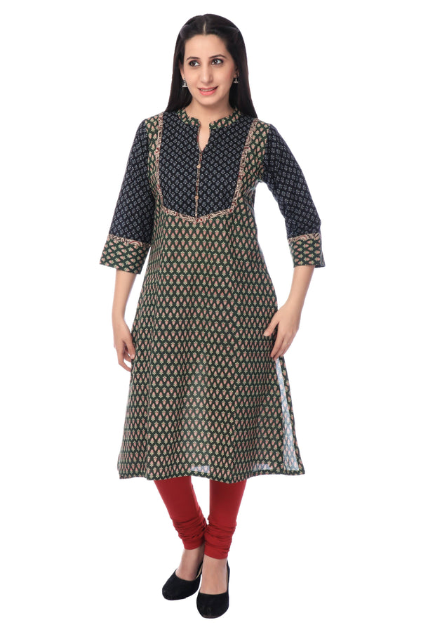 Black Cotton Printed Kurti-www.riafashions.com