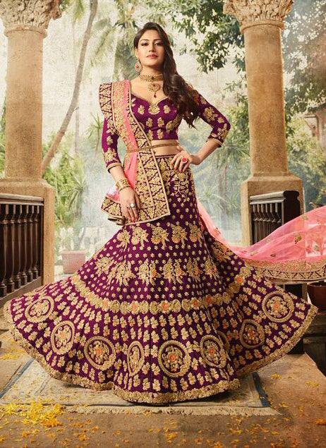 Magenta Wedding Lehenga Set-www.riafashions.com