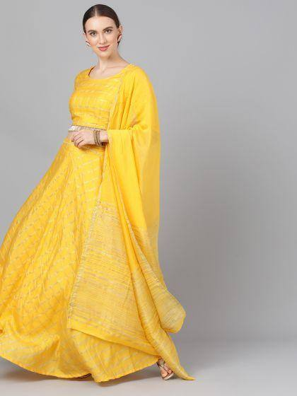 Yellow Chanderi Lehenga Choli With Dupatta