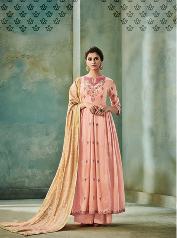 Peach Embroidered Salwar Suit-www.riafashions.com
