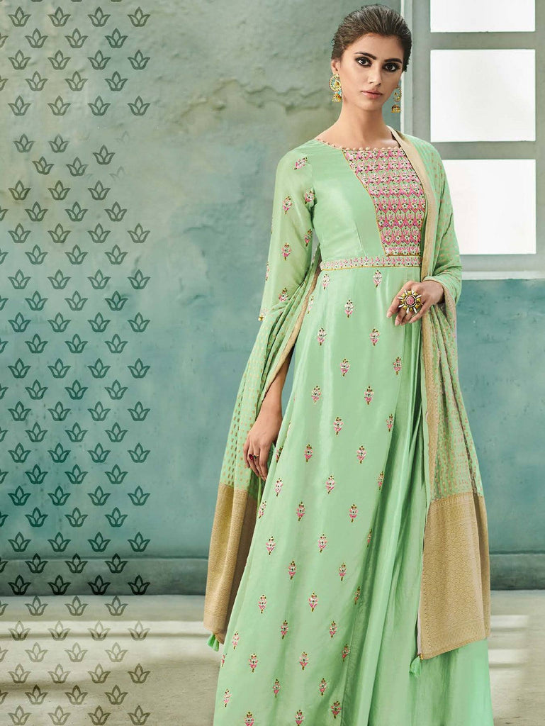 Green Embroidered Salwar Suit-www.riafashions.com