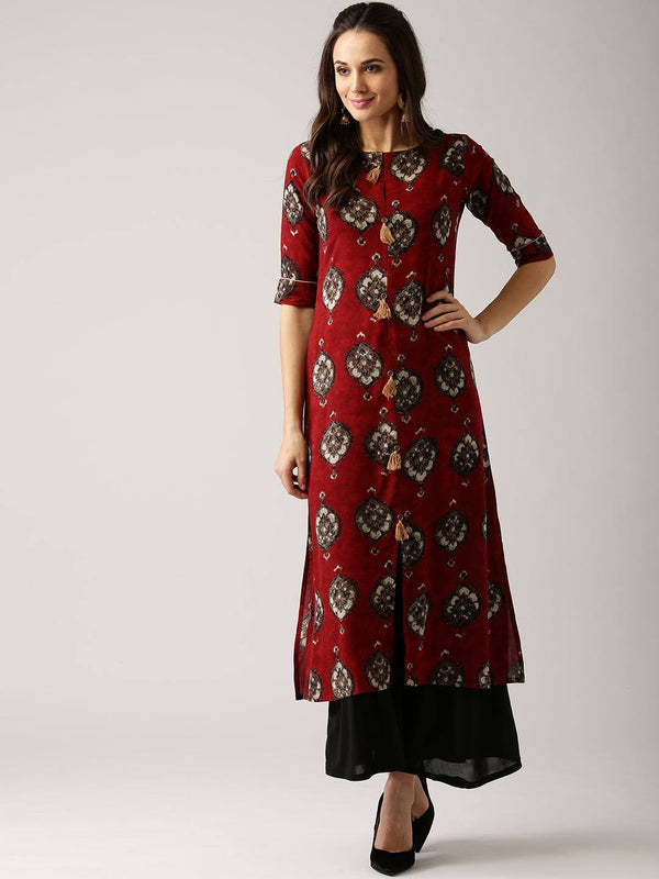 Red Cotton Blend Kurti-www.riafashions.com