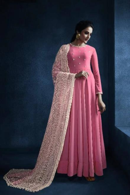 Glistening Pink Colored Georgette Kurti With Net Dupatta