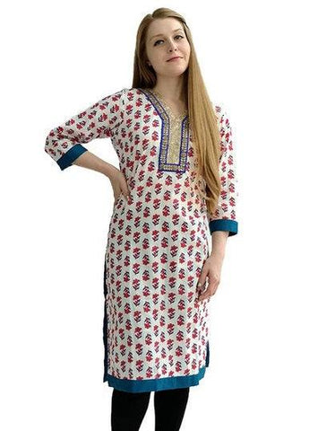 White Gold Embroidered Kurti-www.riafashions.com