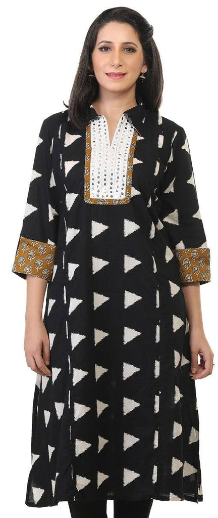 Black Cotton Kurti-www.riafashions.com