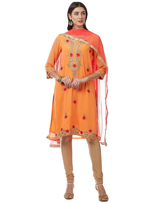 Orange Embroidered Georgette Kurti