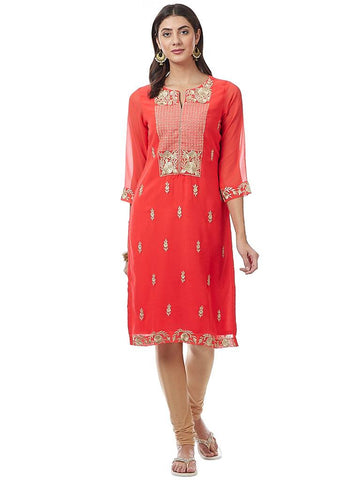 Orange Printed Georgette Kurti