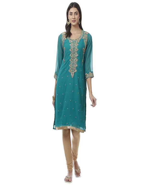 Green Embroidered Georgette Kurti - www.riafashions.com