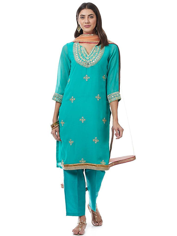 Blue Embroidered Georgette Kurti